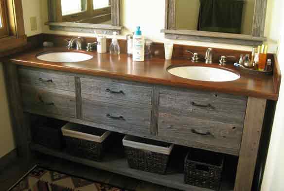 ... Bathroom Vanity: Natural Barnwood With Pickle Barrel Tops
